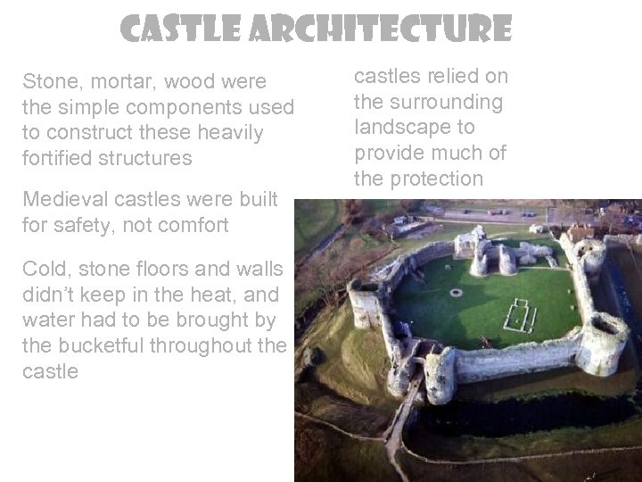 Castle Architecture Stone, mortar, wood were the simple components used to construct these heavily