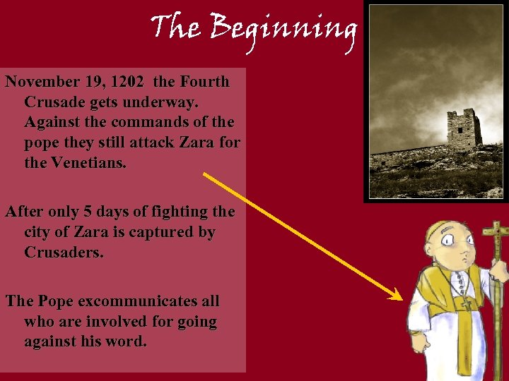 The Beginning November 19, 1202 the Fourth Crusade gets underway. Against the commands of