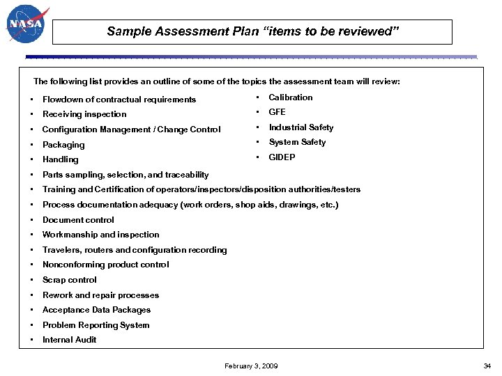 "Sample Assessment Plan ""items to be reviewed"" The following list provides an outline of"