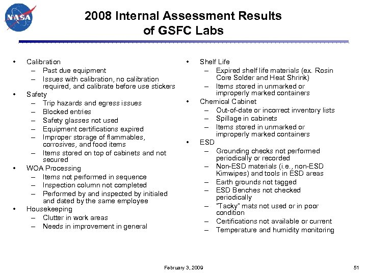2008 Internal Assessment Results of GSFC Labs • • Calibration – Past due equipment