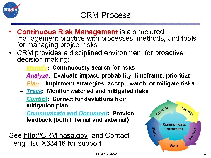 CRM Process • Continuous Risk Management is a structured management practice with processes, methods,