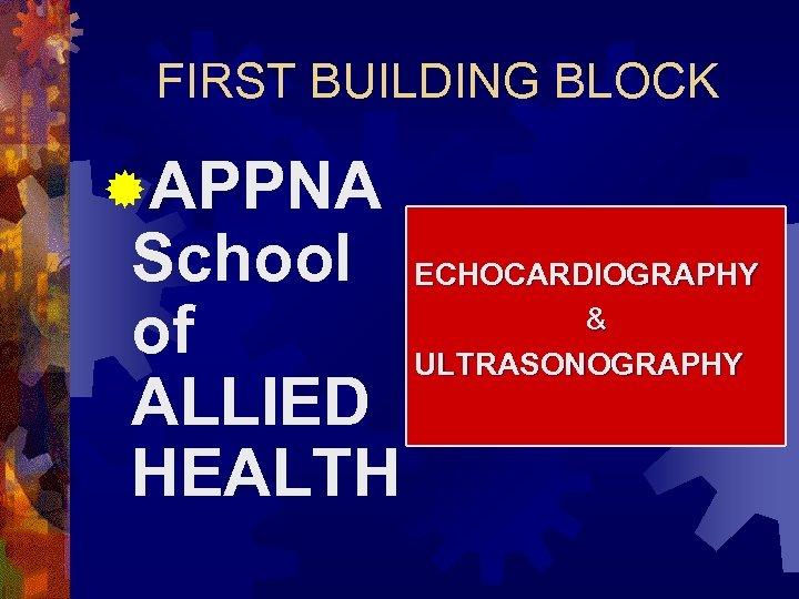 FIRST BUILDING BLOCK ®APPNA School ECHOCARDIOGRAPHY & of ULTRASONOGRAPHY ALLIED HEALTH