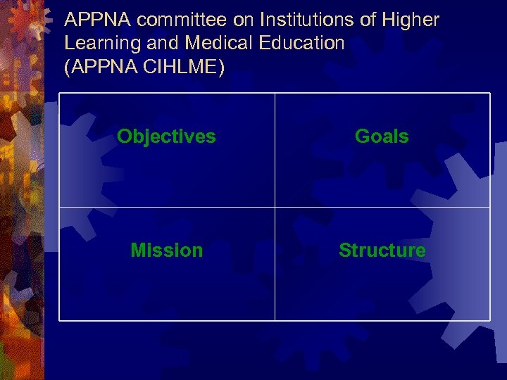 APPNA committee on Institutions of Higher Learning and Medical Education (APPNA CIHLME) Objectives Goals