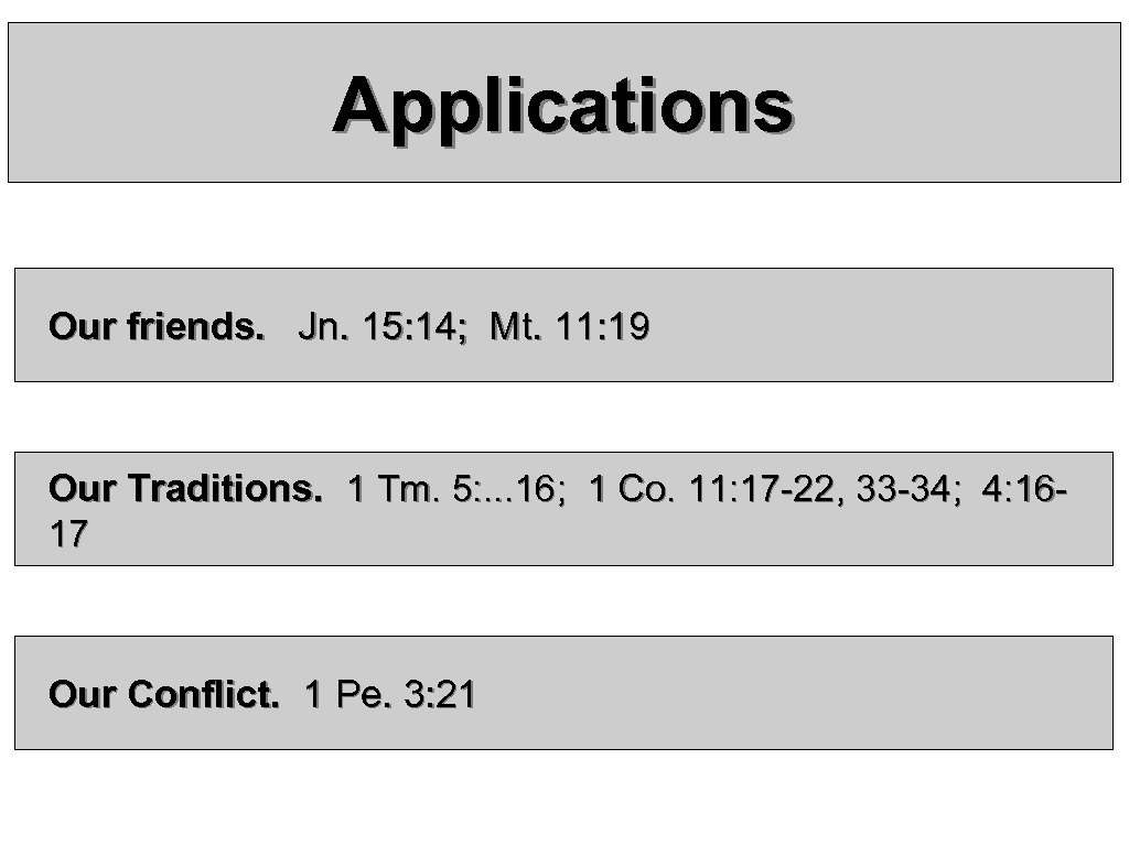Applications Our friends. Jn. 15: 14; Mt. 11: 19 Our Traditions. 1 Tm. 5: