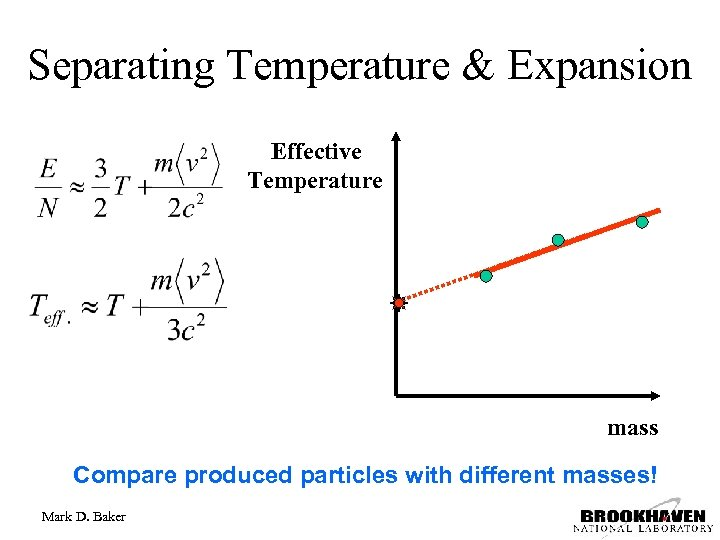 Separating Temperature & Expansion Effective Temperature mass Compare produced particles with different masses! Mark