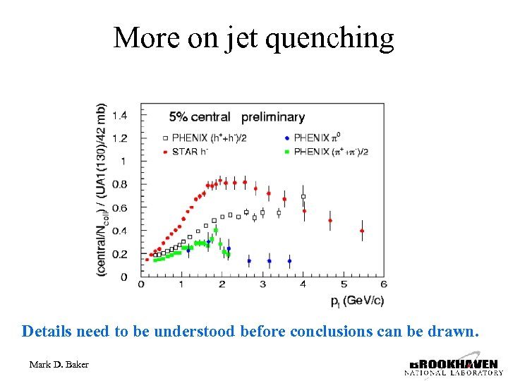 More on jet quenching Details need to be understood before conclusions can be drawn.