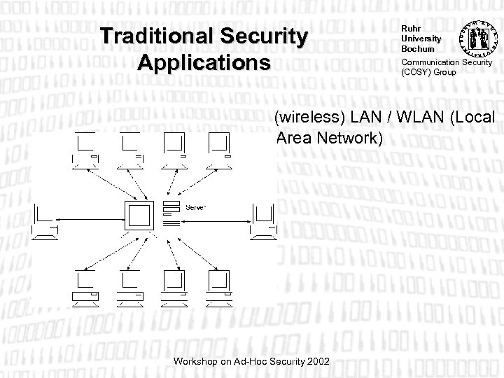 Traditional Security Applications Ruhr University Bochum Communication Security (COSY) Group (wireless) LAN / WLAN