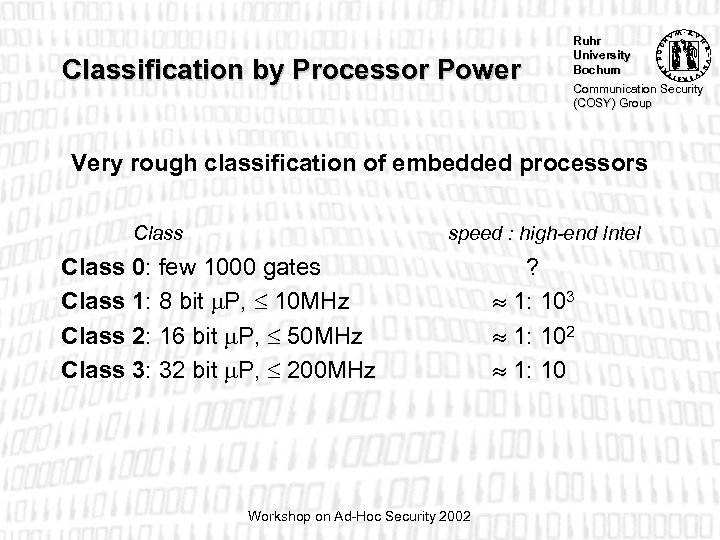 Classification by Processor Power Ruhr University Bochum Communication Security (COSY) Group Very rough classification