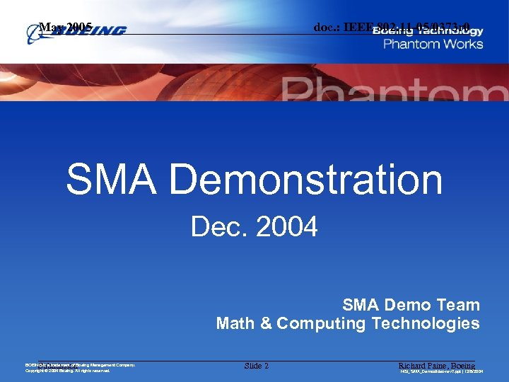 May 2005 doc. : IEEE 802. 11 -05/0373 r 0 SMA Demonstration Dec. 2004