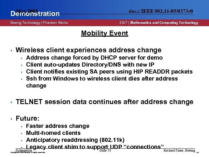 May 2005 Demonstration Boeing Technology | Phantom Works doc. : IEEE 802. 11 -05/0373