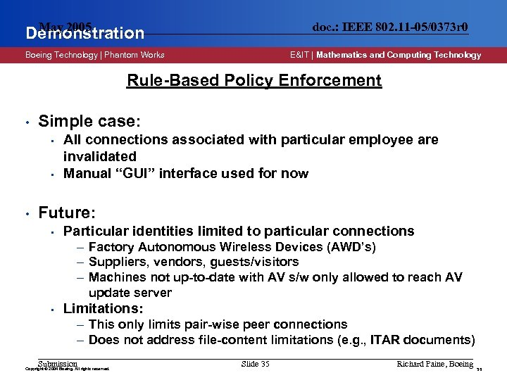May 2005 Demonstration doc. : IEEE 802. 11 -05/0373 r 0 Boeing Technology |