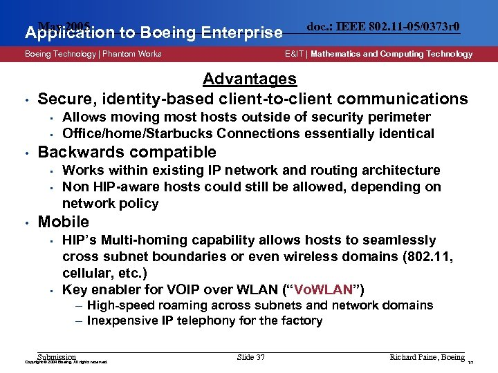 May 2005 Application to Boeing Enterprise Boeing Technology | Phantom Works • • Allows