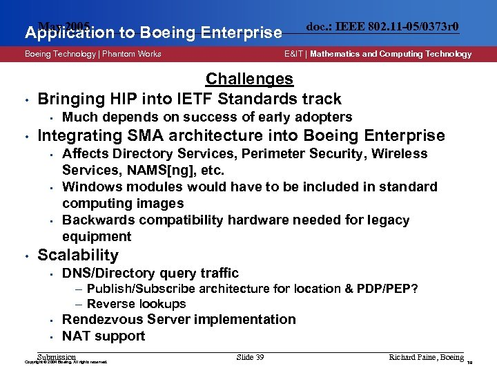May 2005 Application to Boeing Enterprise Boeing Technology | Phantom Works • Much depends