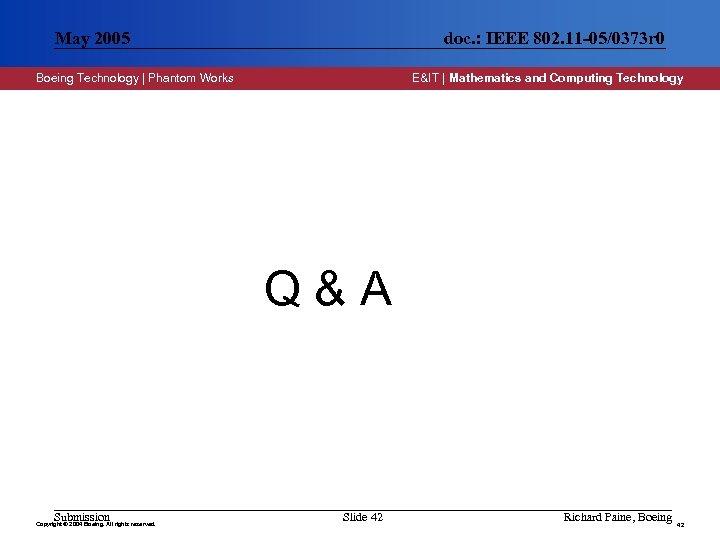May 2005 doc. : IEEE 802. 11 -05/0373 r 0 Boeing Technology | Phantom