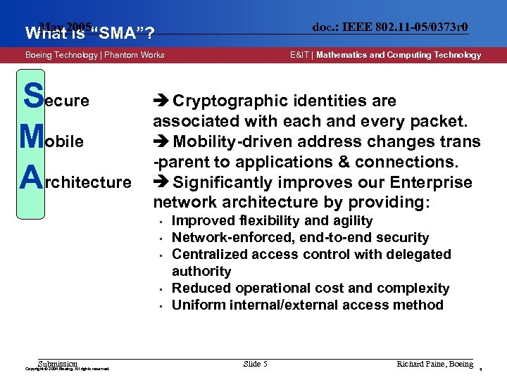 """May What 2005""""SMA""""? is doc. : IEEE 802. 11 -05/0373 r 0 Boeing Technology"""