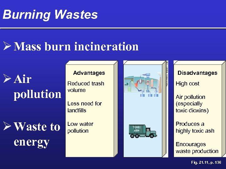 Burning Wastes Ø Mass burn incineration Ø Air pollution Ø Waste to energy Advantages