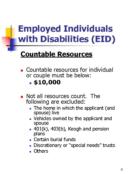 Employed Individuals with Disabilities (EID) Countable Resources n n Countable resources for individual or