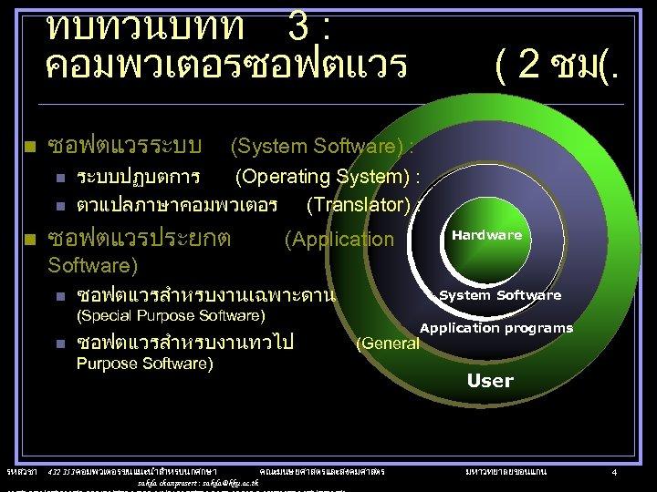 ทบทวนบทท 3 : คอมพวเตอรซอฟตแวร n ซอฟตแวรระบบ n n n (System Software) : ระบบปฏบตการ (Operating