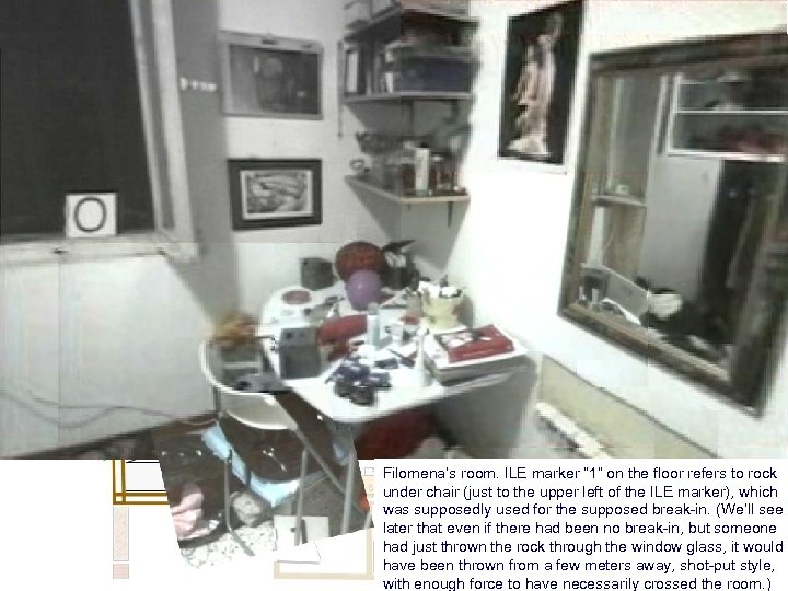 "Filomena's room. ILE marker "" 1"" on the floor refers to rock under chair"