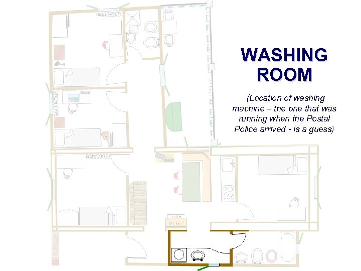 WASHING ROOM (Location of washing machine – the one that was running when the