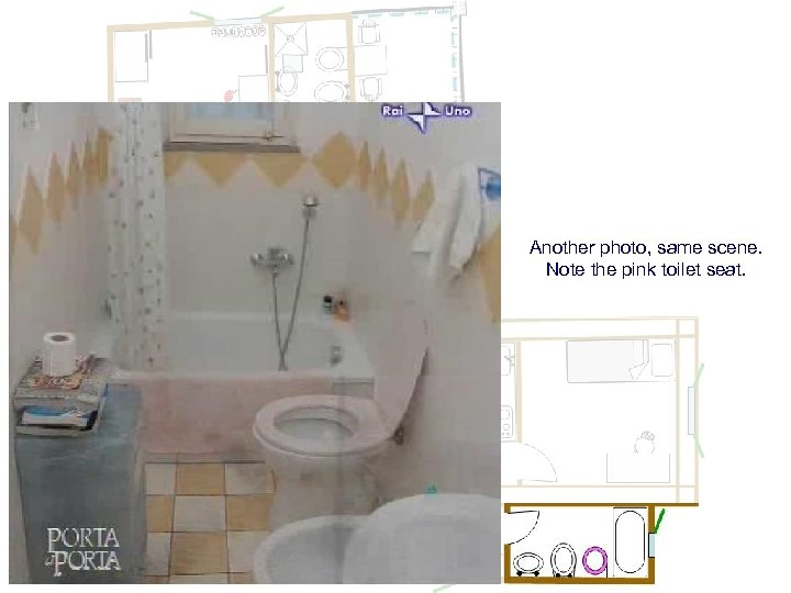 Another photo, same scene. Note the pink toilet seat.