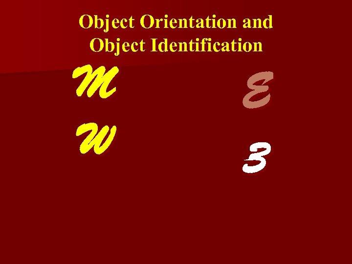 Object Orientation and Object Identification M W E 3