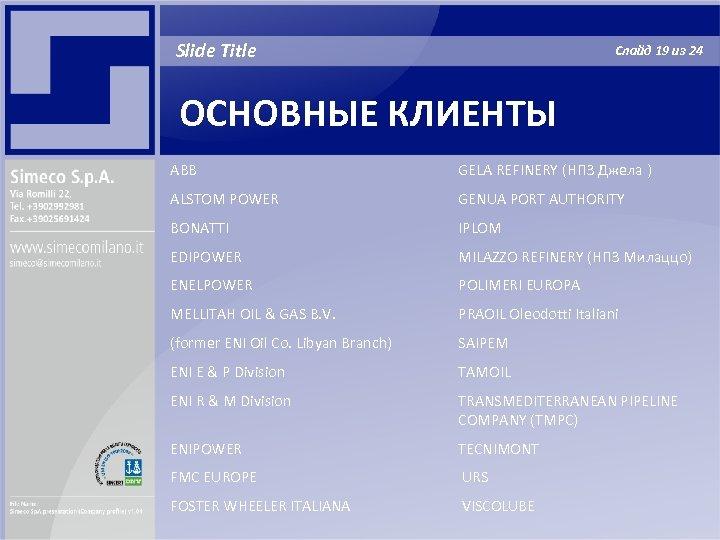 Slide Title Слайд 19 из 24 ОСНОВНЫЕ КЛИЕНТЫ ABB GELA REFINERY (НПЗ Джела )