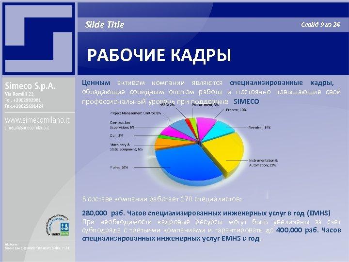 Slide Title Слайд 9 из 24 РАБОЧИЕ КАДРЫ Ценным активом компании являются специализированные кадры,