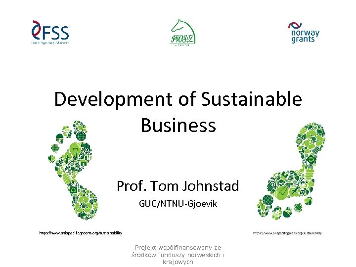 Development of Sustainable Business Prof. Tom Johnstad GUC/NTNU-Gjoevik https: //www. asiapacificgreens. org/sustainability Projekt współfinansowany