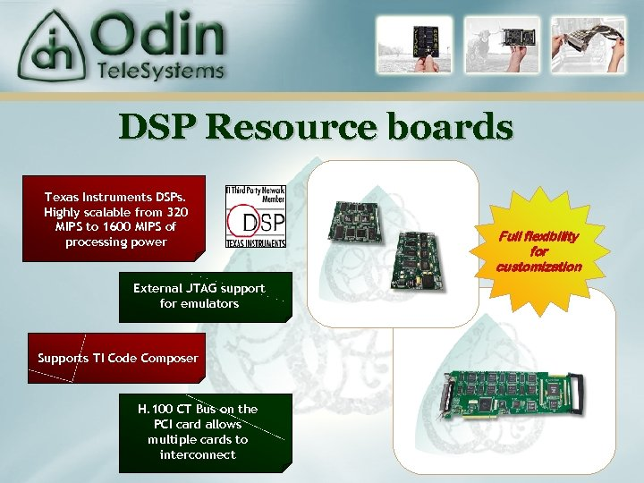 DSP Resource boards Texas Instruments DSPs. Highly scalable from 320 MIPS to 1600 MIPS