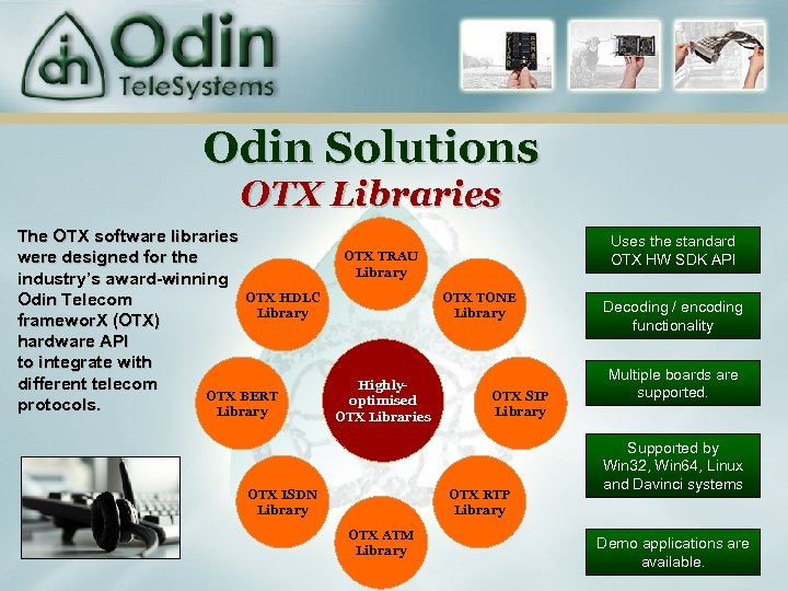 Odin Solutions OTX Libraries The OTX software libraries were designed for the industry's award-winning