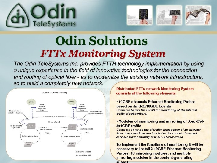 Odin Solutions FTTx Monitoring System The Odin Tele. Systems Inc. provides FTTH technology implementation