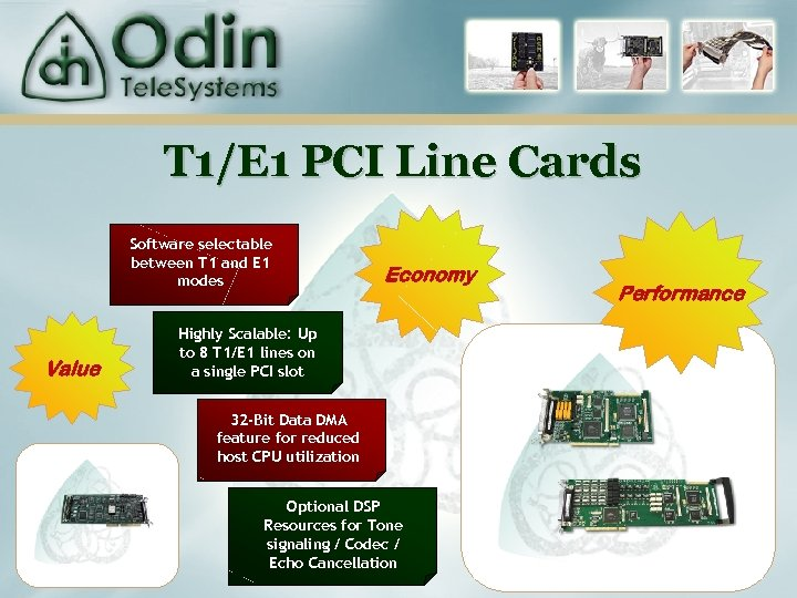 T 1/E 1 PCI Line Cards Software selectable between T 1 and E 1