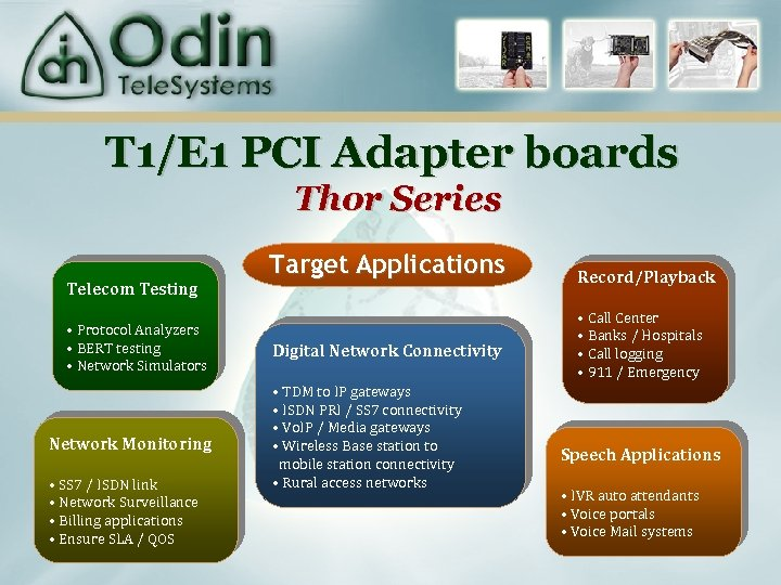 T 1/E 1 PCI Adapter boards Thor Series Telecom Testing • Protocol Analyzers •