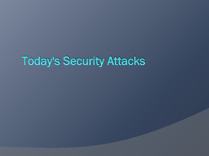 Today's Security Attacks