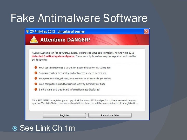 Fake Antimalware Software See Link Ch 1 m
