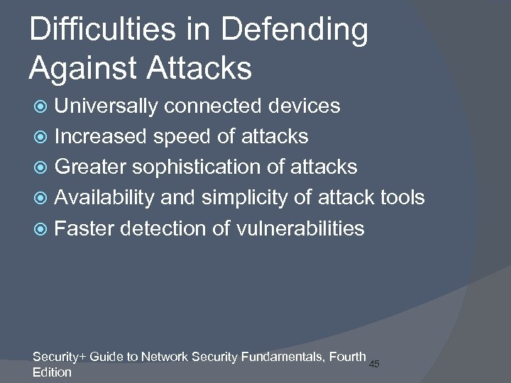 Difficulties in Defending Against Attacks Universally connected devices Increased speed of attacks Greater sophistication