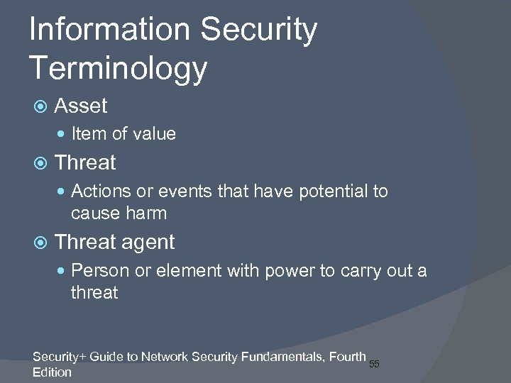 Information Security Terminology Asset Item of value Threat Actions or events that have potential