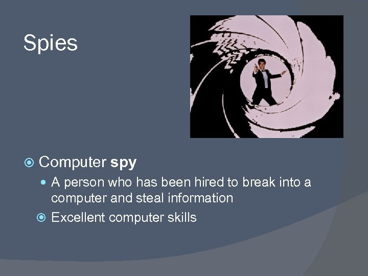 Spies Computer spy A person who has been hired to break into a computer