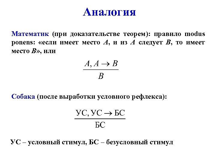 Аналогия Математик (при доказательстве теорем): правило modus ponens: «если имеет место А, и из