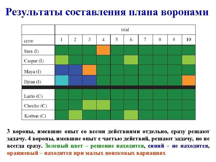 Результаты составления плана воронами 3 вороны, имевшие опыт со всеми действиями отдельно, сразу решают