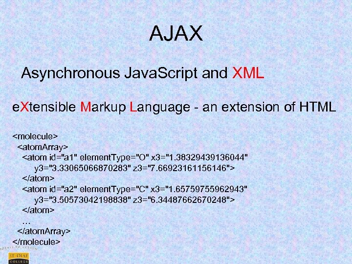 AJAX Asynchronous Java. Script and XML e. Xtensible Markup Language - an extension of