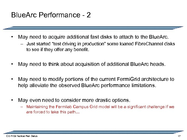 Blue. Arc Performance - 2 • May need to acquire additional fast disks to