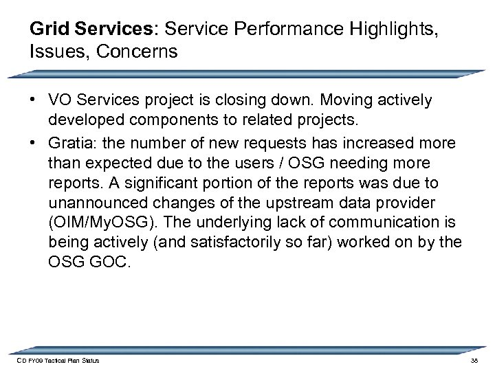Grid Services: Service Performance Highlights, Issues, Concerns • VO Services project is closing down.