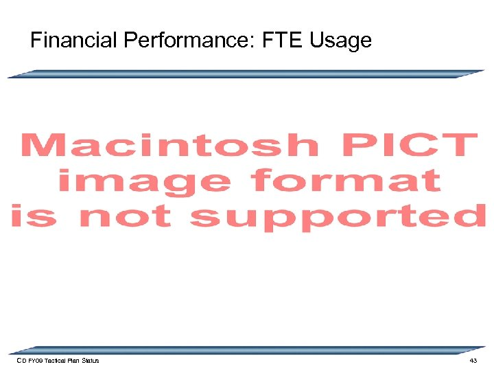 Financial Performance: FTE Usage CD FY 09 Tactical Plan Status 43