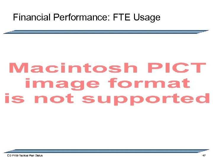 Financial Performance: FTE Usage CD FY 09 Tactical Plan Status 47