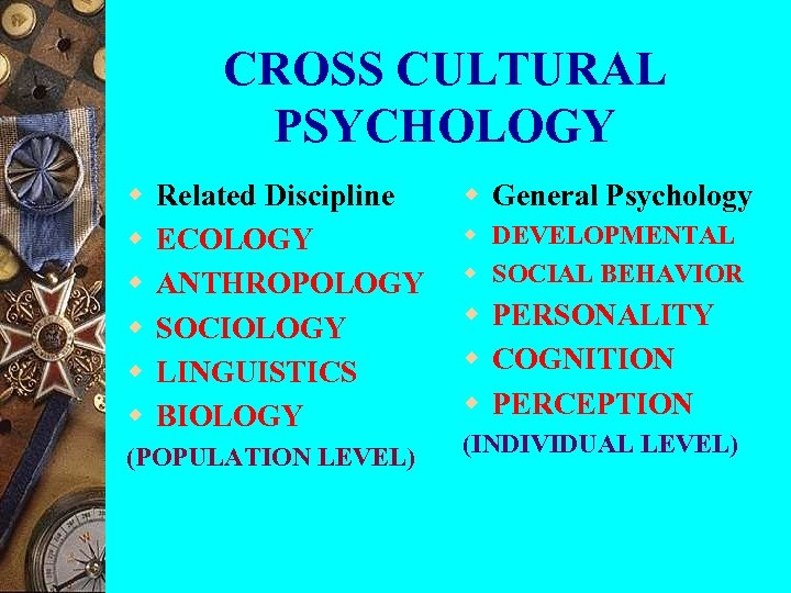 CROSS CULTURAL PSYCHOLOGY w w w Related Discipline ECOLOGY ANTHROPOLOGY SOCIOLOGY LINGUISTICS BIOLOGY (POPULATION