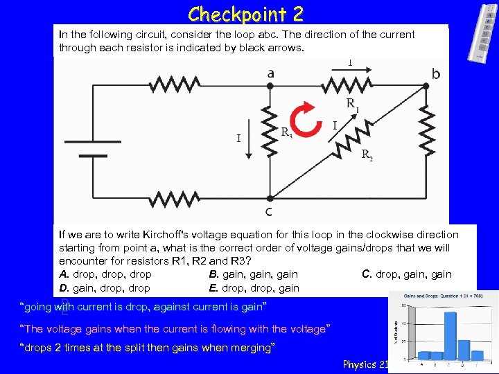 Checkpoint 2 In the following circuit, consider the loop abc. The direction of the