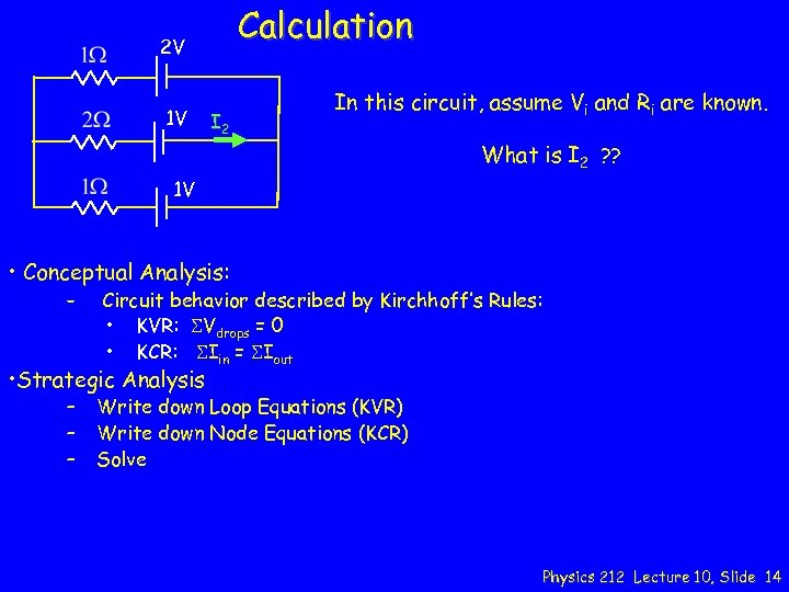 Calculation 2 V 1 V I 2 In this circuit, assume Vi and Ri