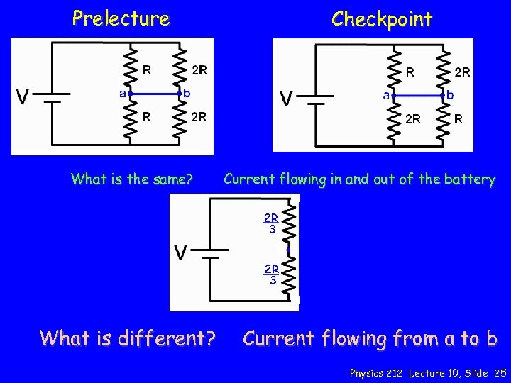 Prelecture What is the same? Checkpoint Current flowing in and out of the battery